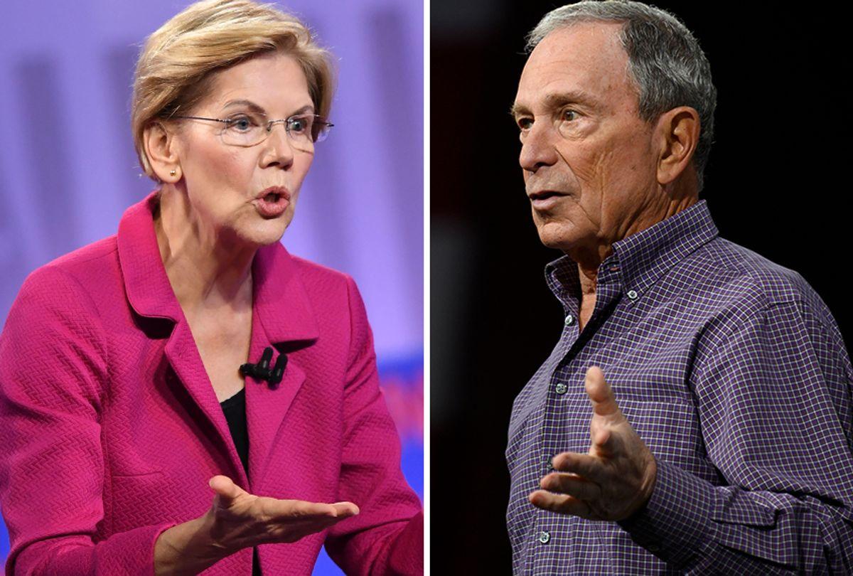 Senator Elizabeth Warren and Michael Bloomberg (Getty Images/Salon)