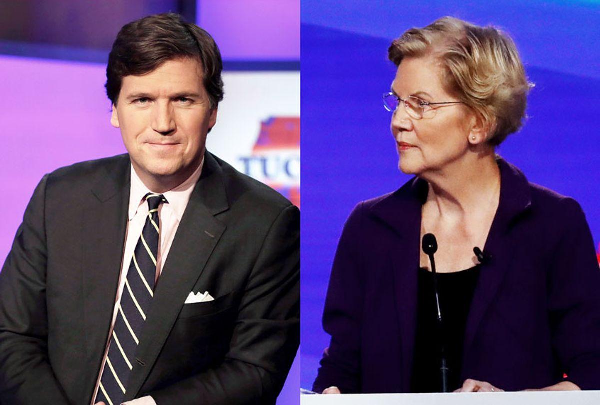 Tucker Carlson and Elizabeth Warren (AP Photo/John Minchillo/Richard Drew)