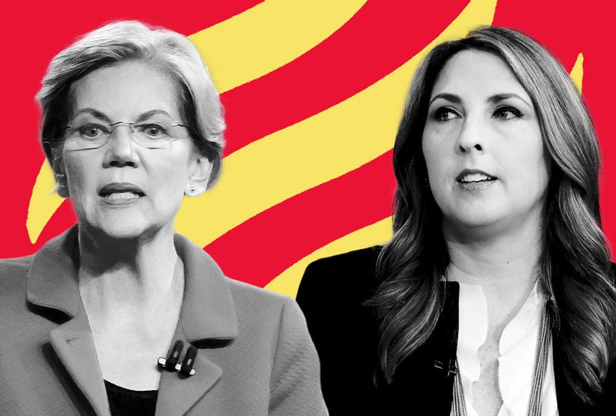 Elizabeth Warren and Ronna McDaniel (AP Photo/Getty Images/Salon)