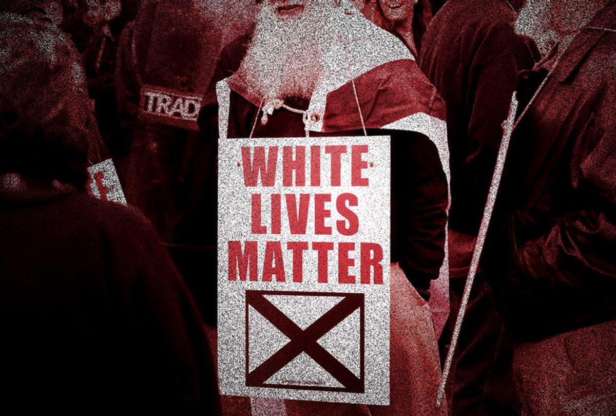 White nationalist attend a rally on October 28, 2017 in Shelbyville, Tennessee. The event billed as a White Lives Matter rally is hosted by Nationalist Front, which is a coalition of several white supremacist organizations.  (Scott Olson/Getty Images/Salon)