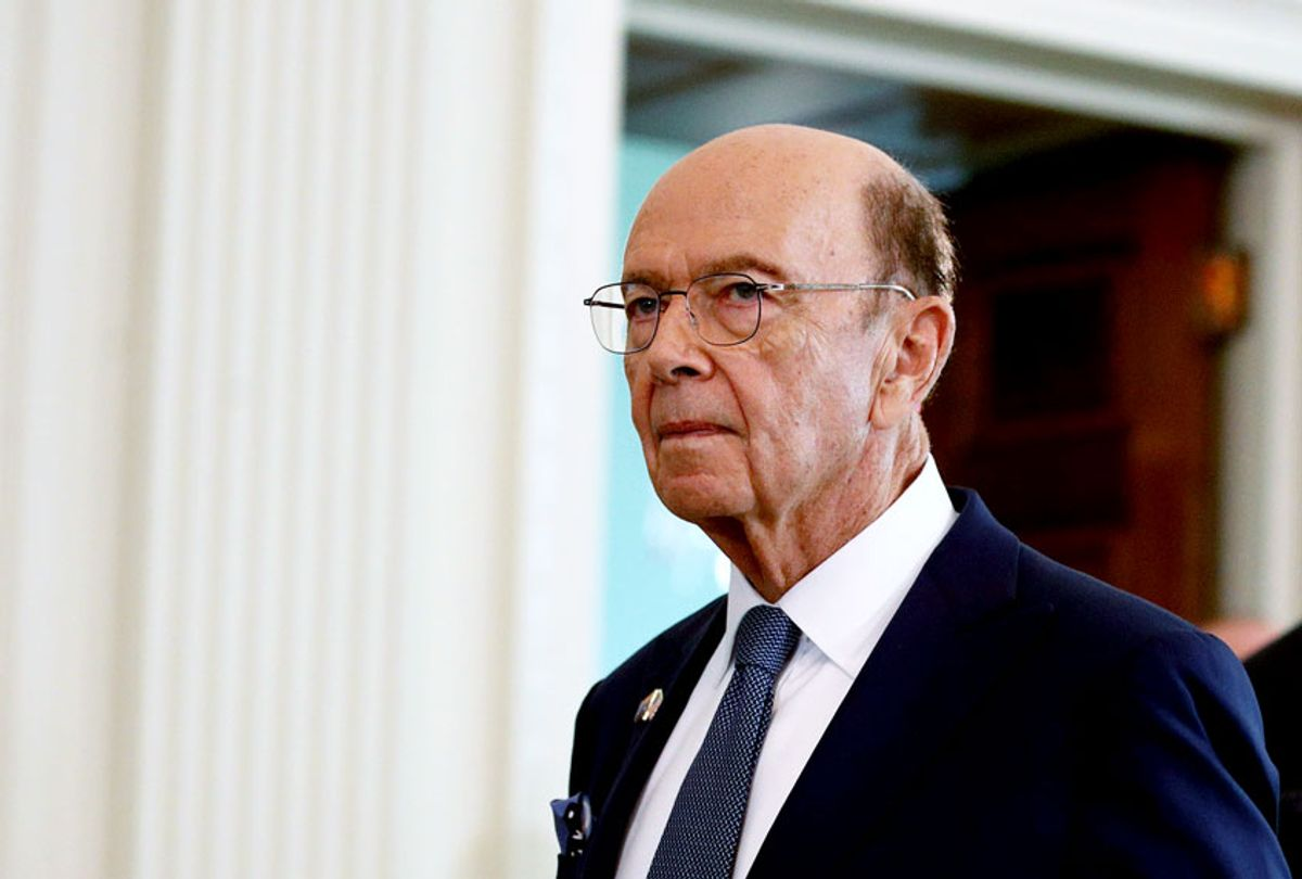 Commerce Secretary Wilbur Ross walks into the East Room of the White House before a news conference with President Trump and Australian Prime Minister Scott Morrison, Friday, Sept. 20, 2019, in Washington.  (AP Photo/Patrick Semansky)