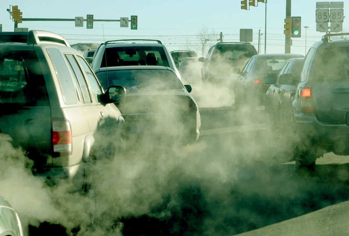 Polluting clouds of exhaust fumes rise in the air (Getty Images)