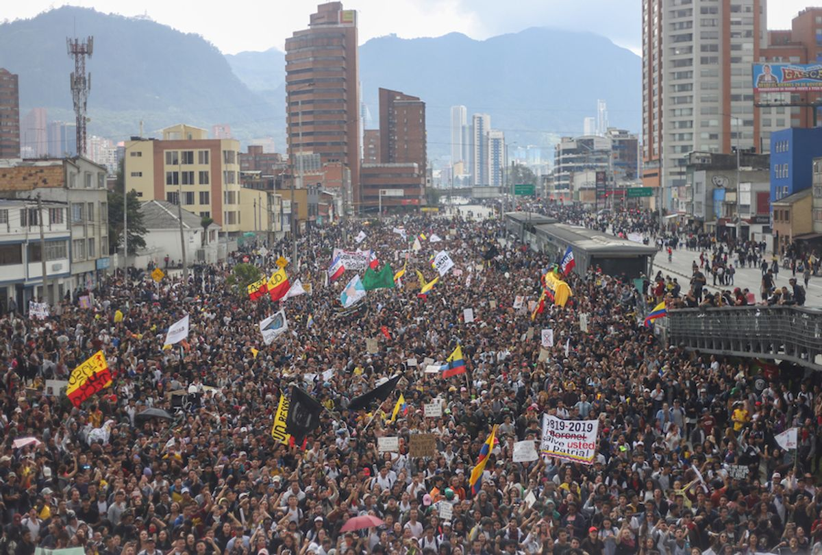 A panoramic view of the people who went to the protest of the national strike in the city of Bogota, Colombia, on 21 November 2019.  (Daniel Garzon Herazo/Nurphoto via Getty Images)