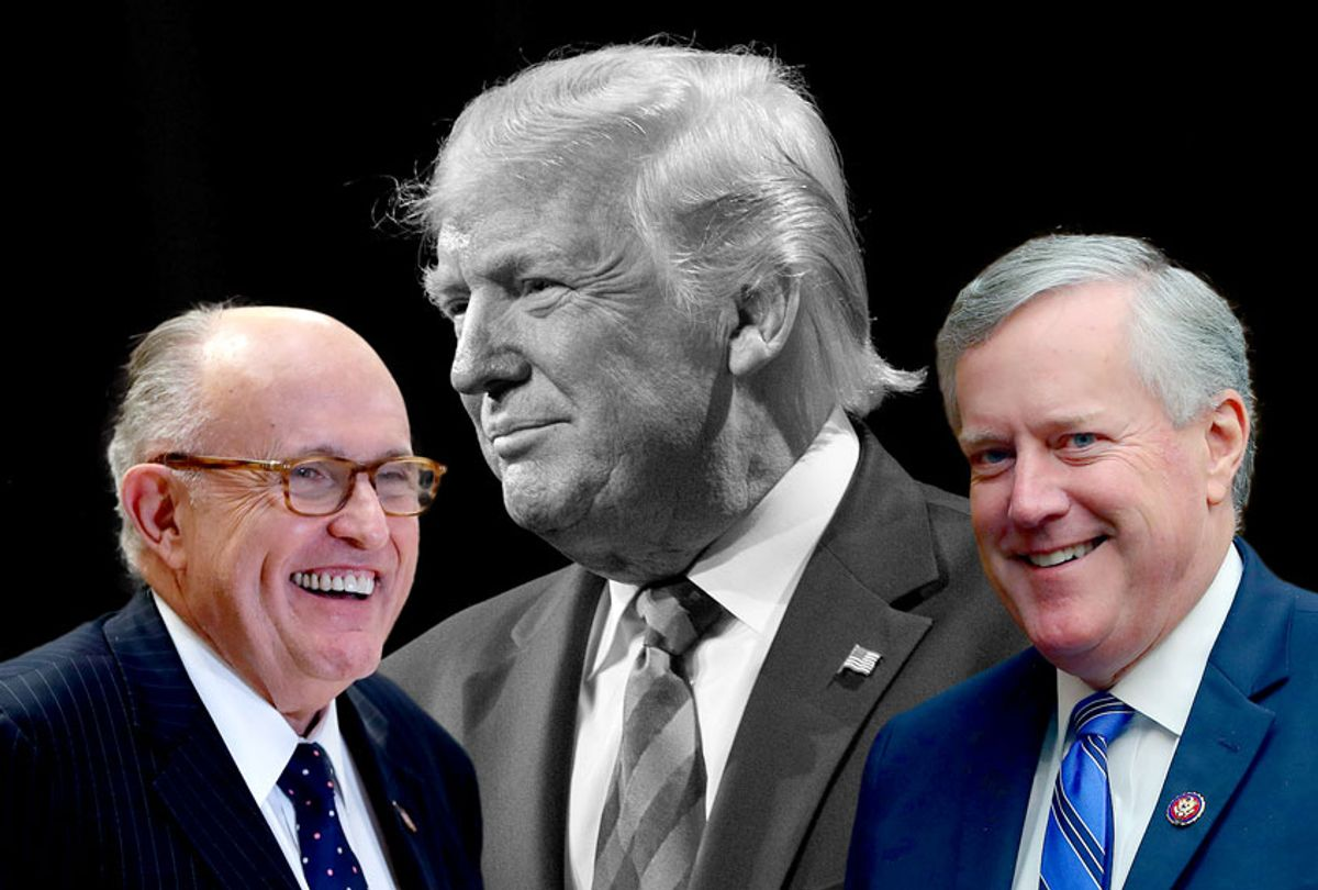 US President Donald Trump, Rep. Mark Meadows, and Rudy Giuliani (AP Photo/Getty Images/Salon)