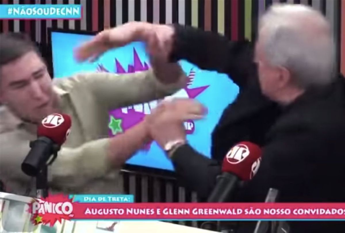 Glenn Greenwald and Augusto Nunes got into an altercation during a live broadcast (Jovem Pan News)