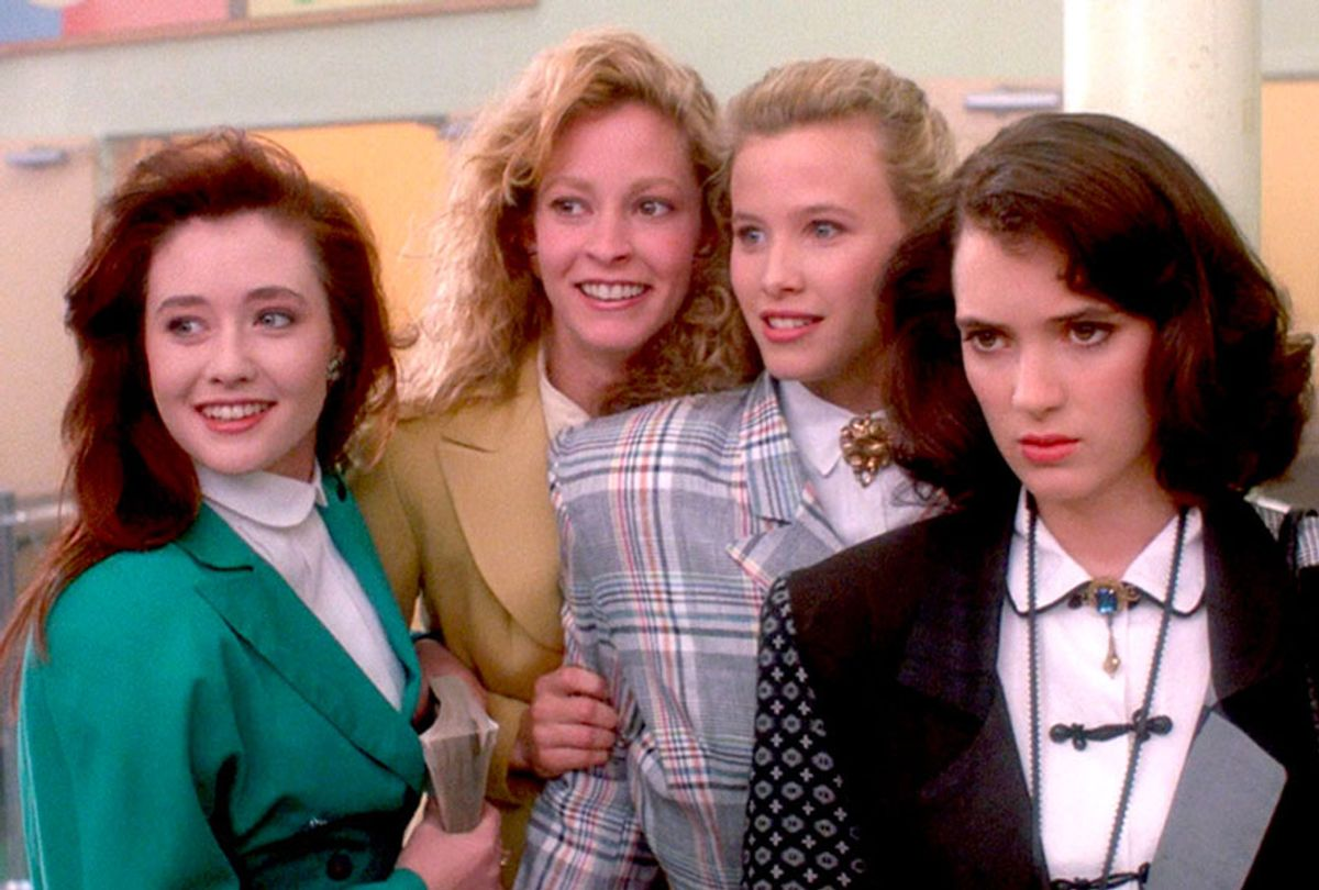 Winona Ryder, Shannen Doherty, Lisanne Falk, and Kim Walker in Heathers (1988) (New World Pictures)