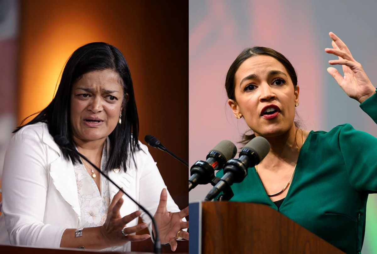 Congressional Progressive Caucus co-chair Rep. Pramila Jayapal and U.S. Rep. Alexandria Ocasio-Cortez (Getty Images/Chip Somodevilla/Stephen Maturen)