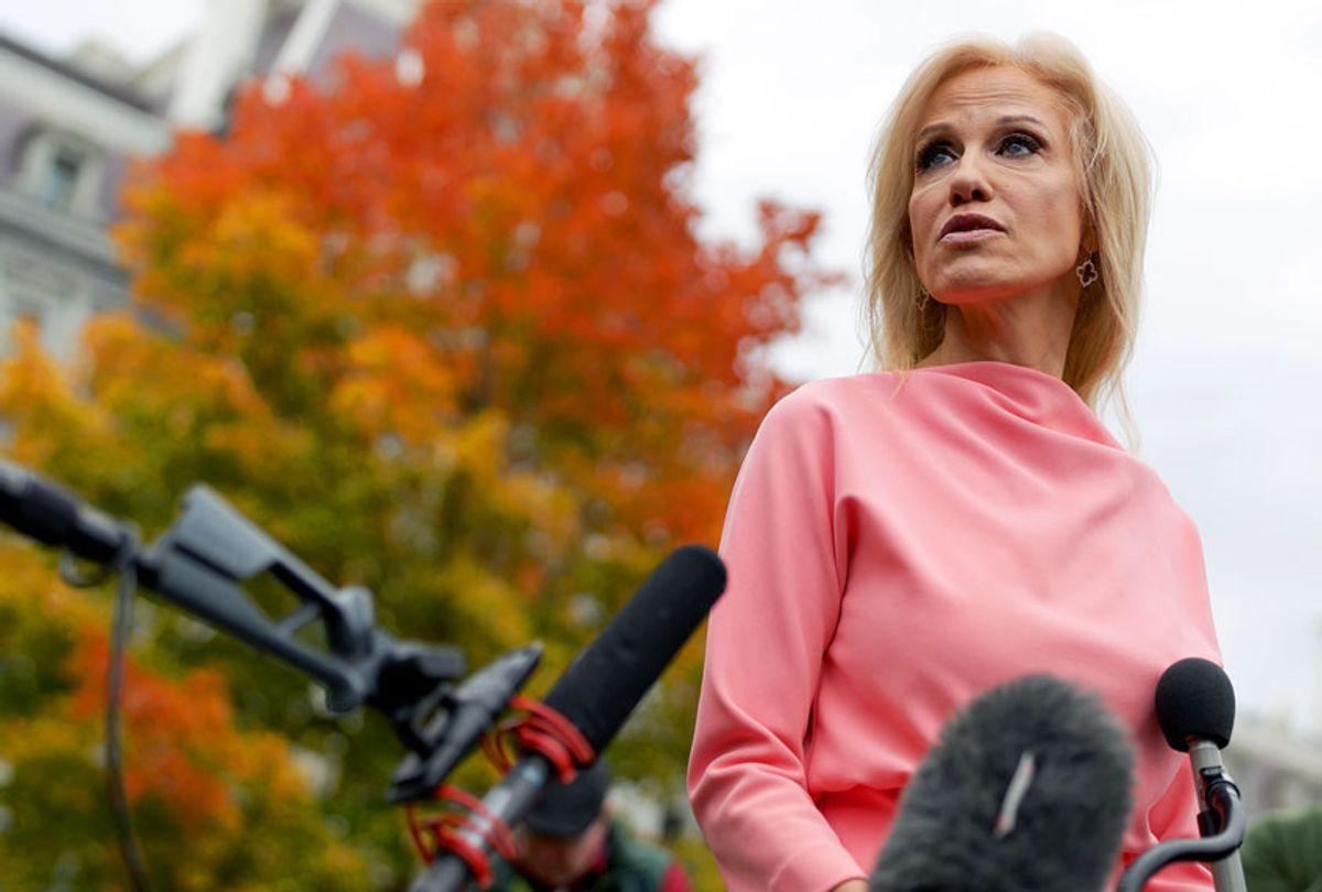 White House senior counselor Kellyanne Conway speaks to members of the media outside the West Wing of the White House. (Alex Wong/Getty Images)