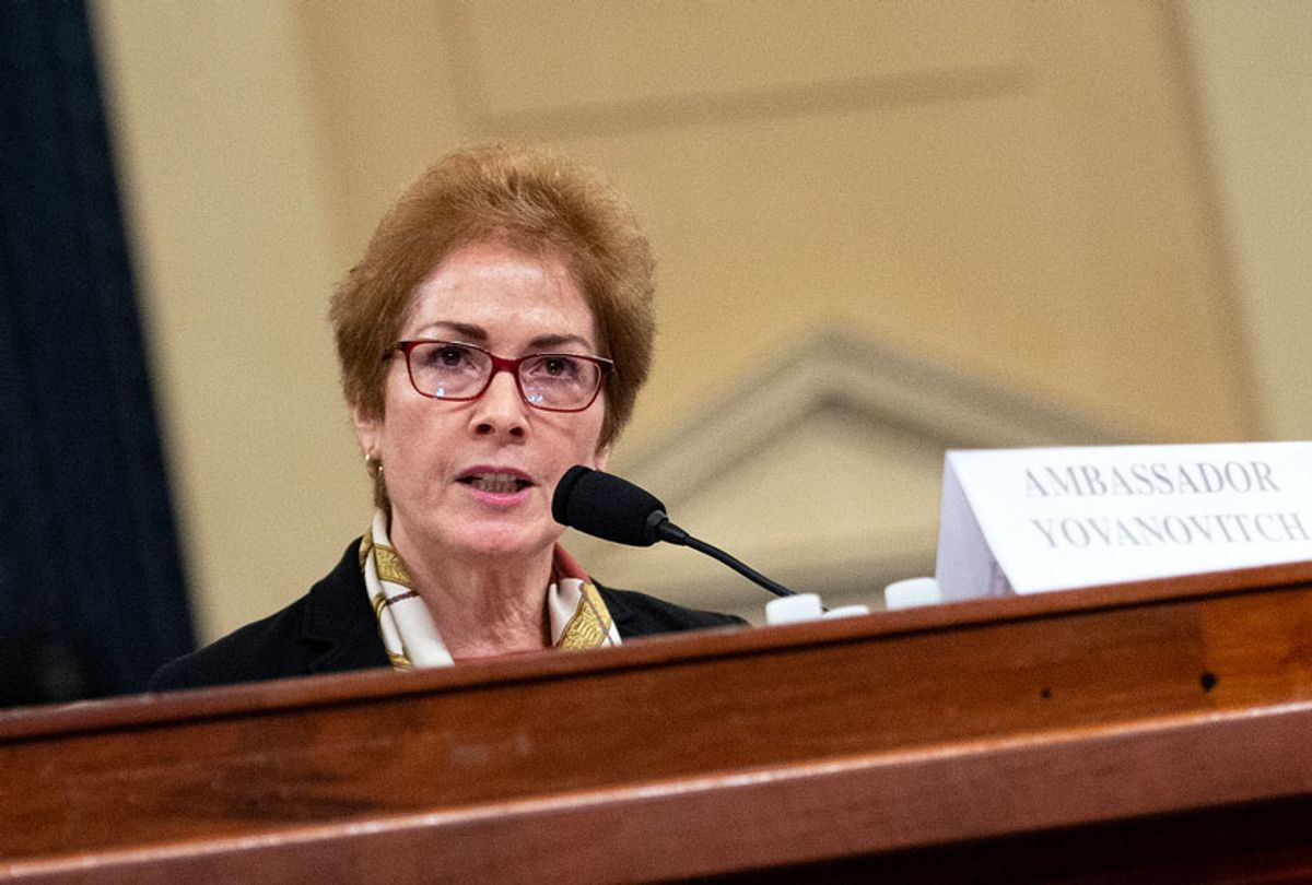 Former U.S. Ambassador to Ukraine Marie Yovanovitch testifies during the House Select Intelligence Committee hearing on the impeachment inquiry into President Donald Trump on Friday Nov. 15, 2019. (Caroline Brehman/CQ-Roll Call, Inc via Getty Images)