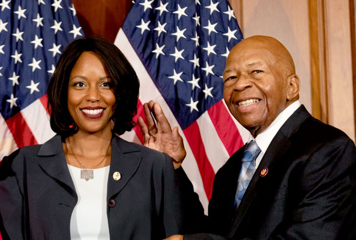 Rep. Elijah Cummings (D-MD 7th District), and his wife, Maya Rockeymoore Cummings, participate in a ceremonial swearing-in ceremony with House Speaker Nancy Pelosi (D-CA), on Capitol Hill in Washington, D.C., on Thursday, January 3, 2019. (Photo by  (Cheriss May/NurPhoto via Getty Images)