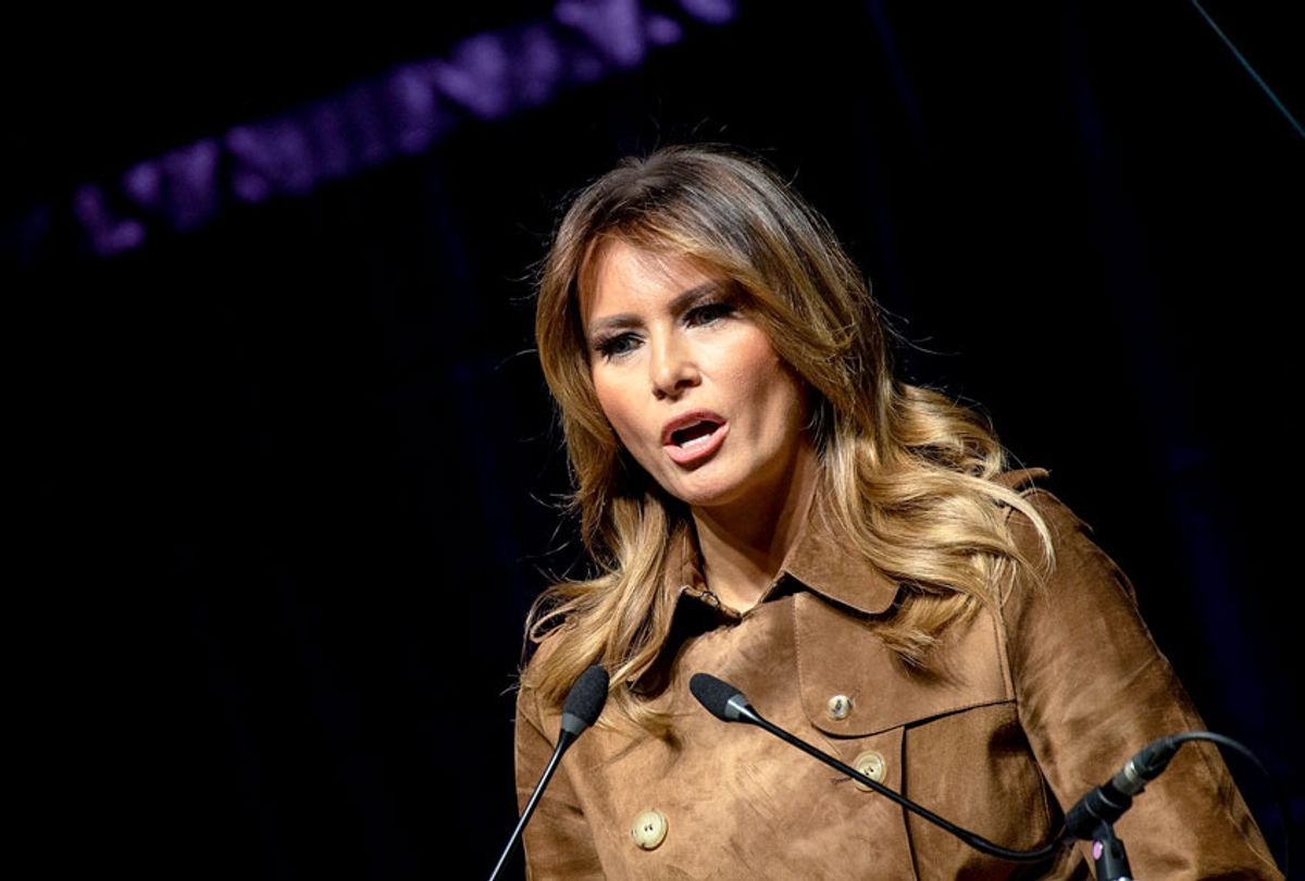 US First Lady Melania Trump addresses the B'More Youth Summit in Baltimore, Maryland, on November 26, 2019. - The purpose of the summit is to promote healthy choices and educate students about the dangers of opioid use.  (NICHOLAS KAMM/AFP via Getty Images)