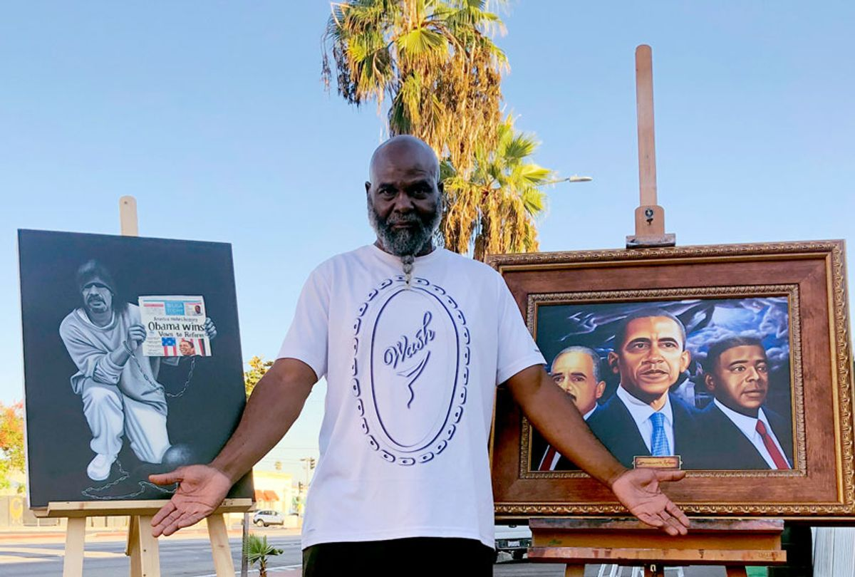 Mr. Wash displays his work (Provided by publicist)