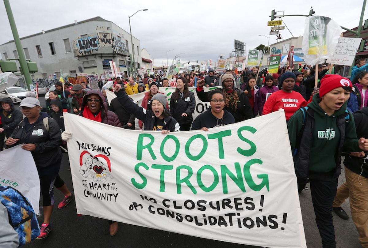 Teachers, students and supporters march down International Boulevard towards a rally at Roots International Academy in Oakland, Calif., on Tuesday, Feb. 26, 2019. This is the fourth day of their strike. (Photo by Jane Tyska/MediaNews Group/The Mercury News via Getty Images) (Jane Tyska/MediaNews Group/The Mercury News via Getty Images)