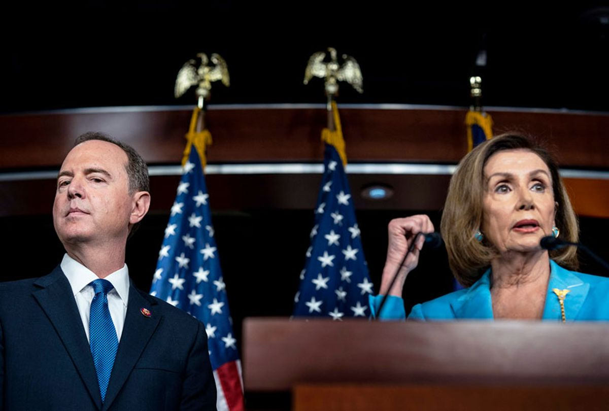 House Intelligence Committee Chairman Adam Schiff and Speaker of the House Nancy Pelosi speak to journalists during a press conference concerning the impeachment inquiry of President Donald Trump on Capitol Hill in Washington, DC  (Melina Mara/The Washington Post via Getty Images)
