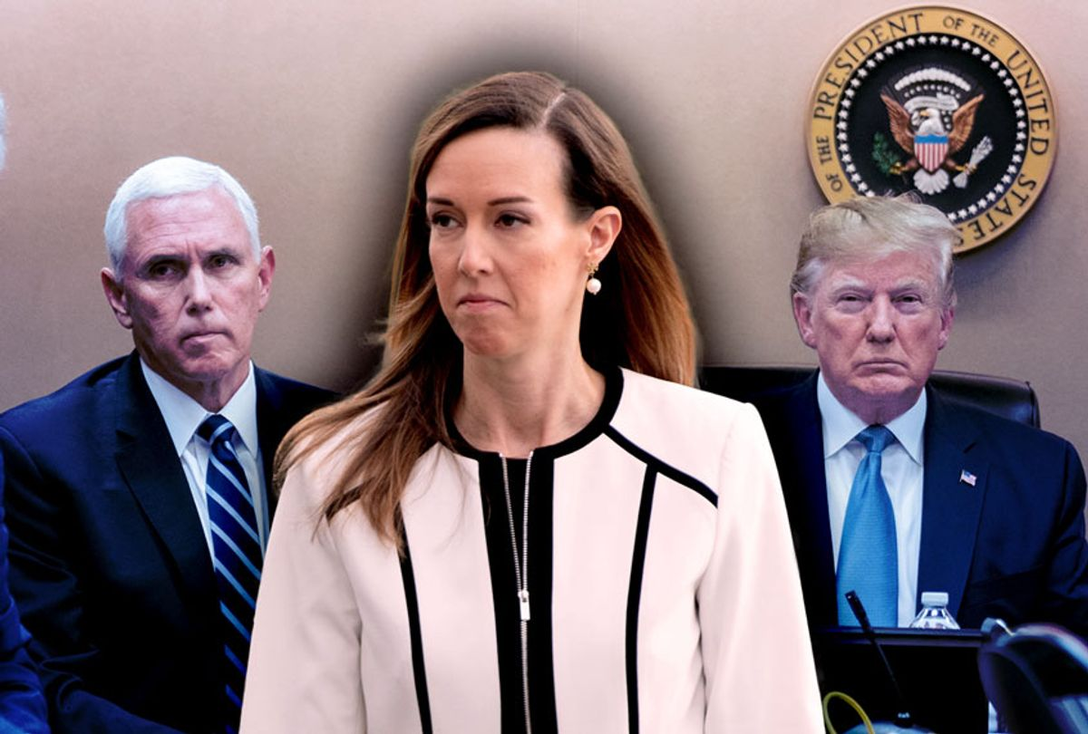 President Donald J. Trump, Vice President Mike Pence, and Jennifer Williams, an aide to the Vice President. (Getty Images/SAUL LOEB/AFP/Shealah Craighead/The White House)