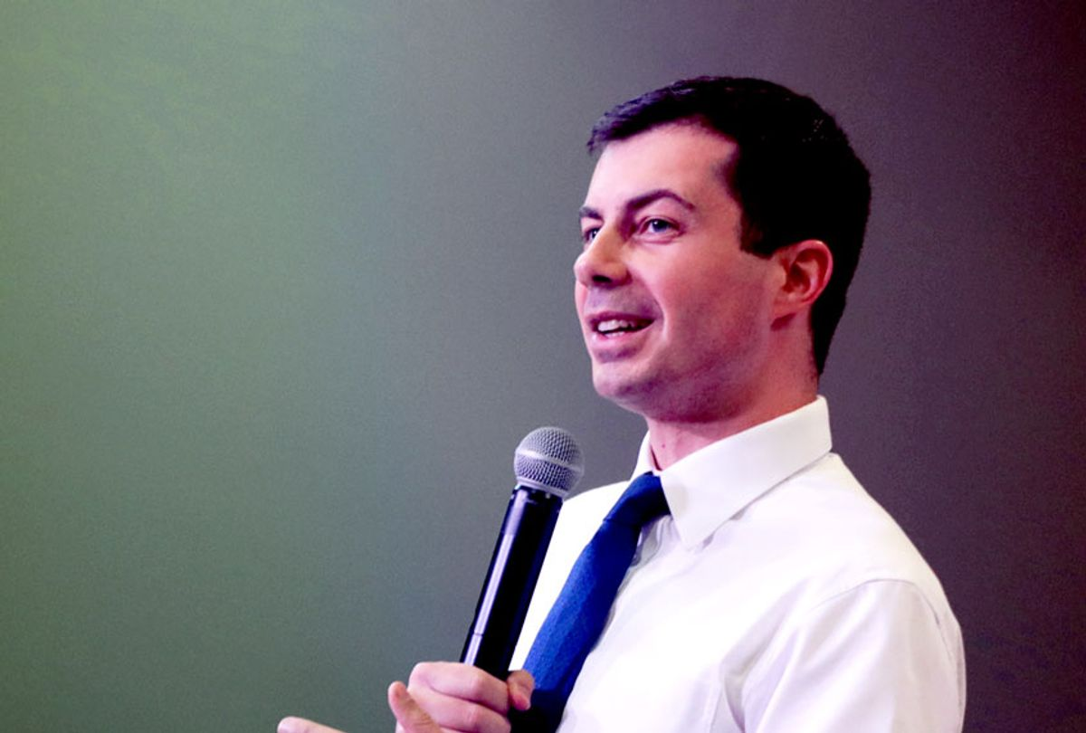 Democratic presidential candidate South Bend, Indiana Mayor Pete Buttigieg speaks to guests during a campaign stop at the YMCA on November 25, 2019 in Creston, Iowa. (Scott Olson/Getty Images)