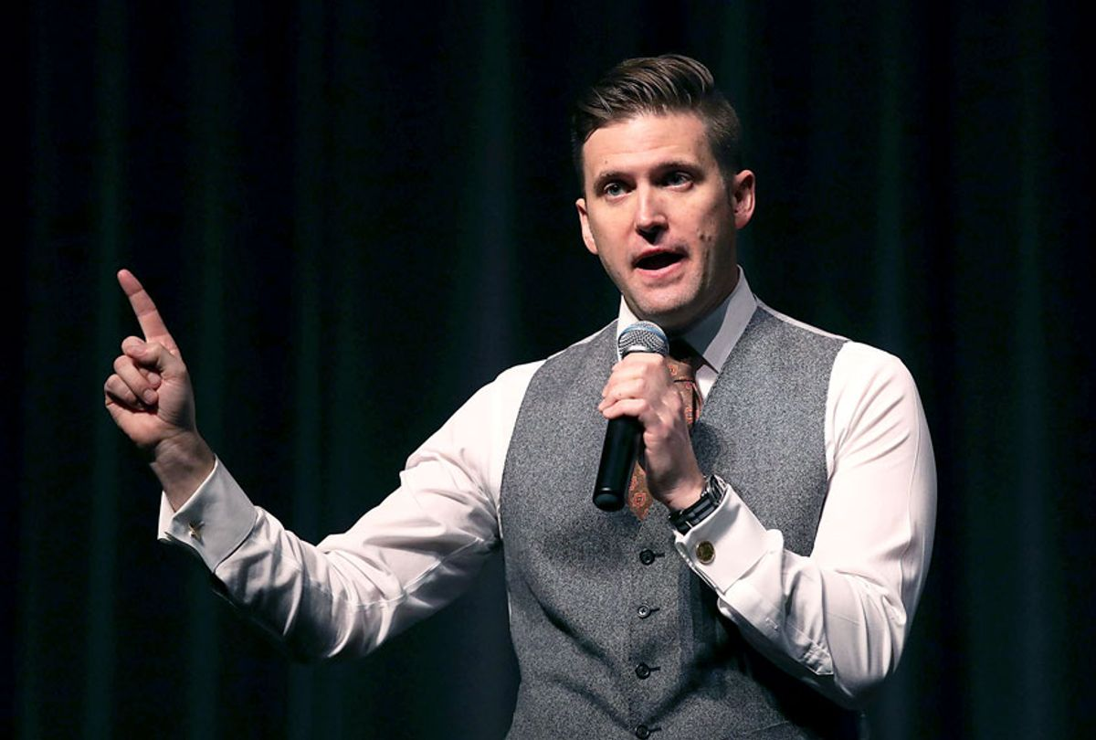 """White nationalist Richard Spencer, who popularized the term """"alt-right"""" speaks at the Curtis M. Phillips Center for the Performing Arts (Joe Raedle/Getty Images)"""