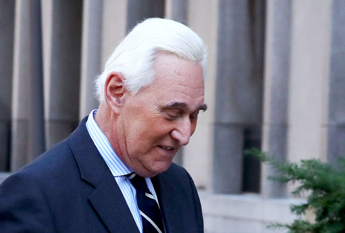 Roger Stone, former advisor to President Donald Trump, arrives for the second day of his trial at the E. Barrett Prettyman United States Courthouse on November 6, 2019 in Washington, DC. Stone has been charged with lying to Congress and witness tampering.  (Mark Wilson/Getty Images)