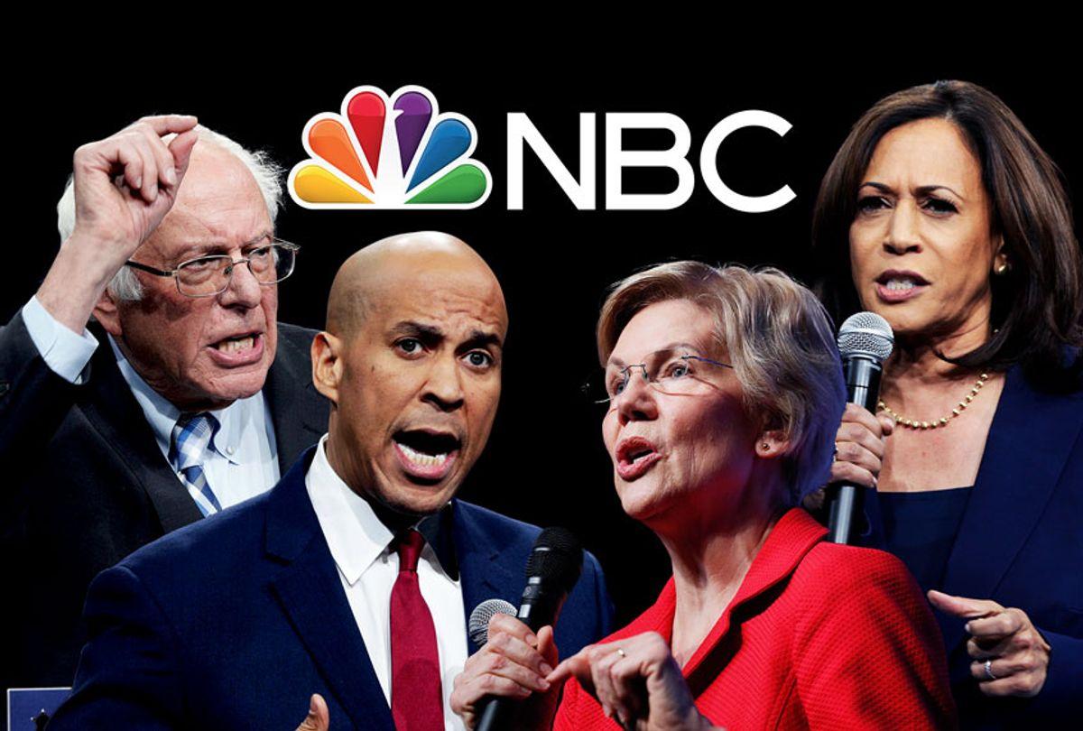 Bernie Sanders, Cory Booker, Elizabeth Warren and Kamala Harris (AP Photo/NBC/Salon)