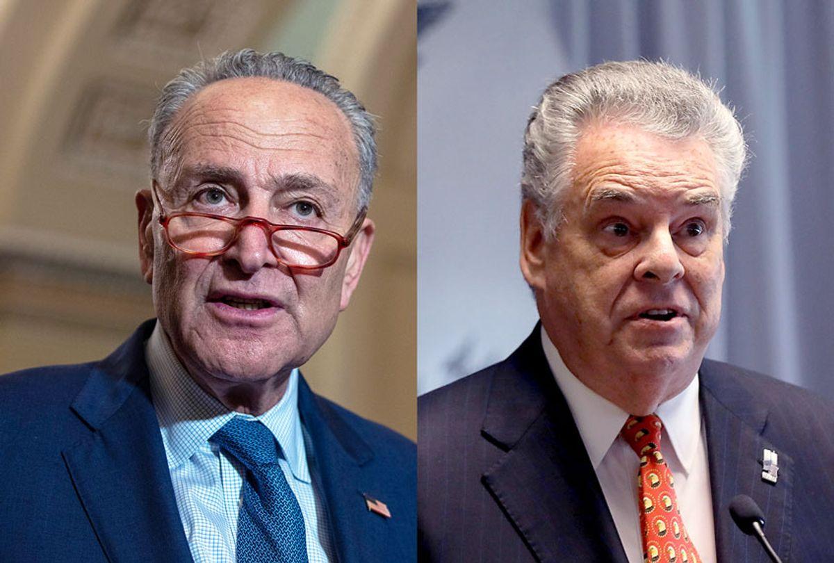 Minority Leader Chuck Schumer and Rep. Peter King  (Tasos Katopodis/Spencer Platt/Getty Images/Salon)