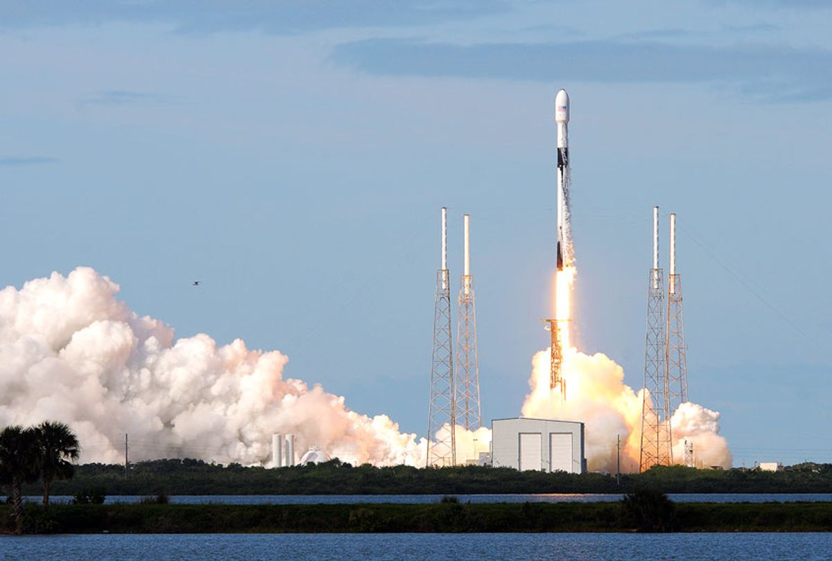 A SpaceX Falcon 9 rocket lifts off from Cape Canaveral Air Force Station carrying 60 Starlink satellites on November 11, 2019 in Cape Canaveral, Florida. The Starlink constellation will eventually consist of thousands of satellites designed to provide world wide high-speed internet service. (Paul Hennessy/NurPhoto via Getty Images)