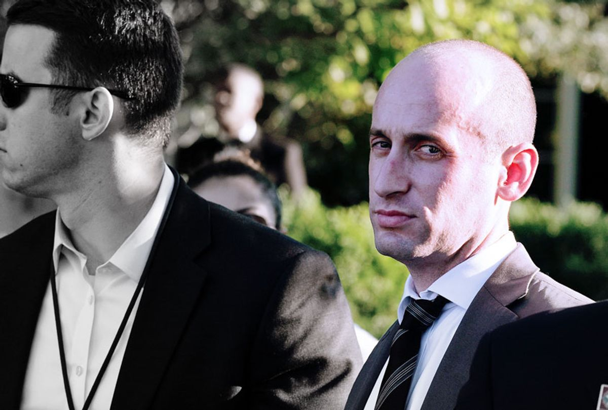 White House senior adviser Stephen Miller (C) is seen during a congressional picnic on the South Lawn of the White House  (Alex Wong/Getty Images)