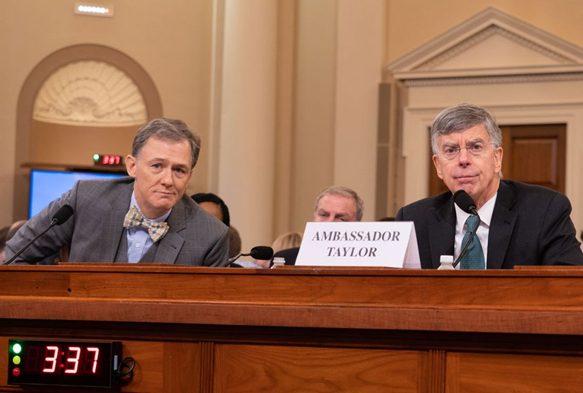 The House Intelligence Committee heard testimony from William Taylor, Acting U.S. Ambassador to Ukraine, and Deputy Assistant Secretary of State George Kent, as it held its first open hearing of the impeachment inquiry against President Trump on Capitol Hill in Washington D.C. on Wednesday, Nov. 13, 2019.  (Jeff Malet)