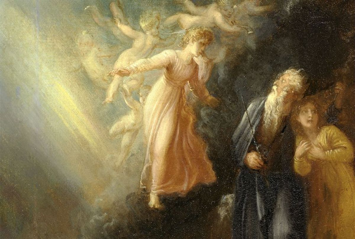 """Prospero, Miranda and Ariel, from """"The Tempest,"""" Act I, scene ii Prospero, Miranda and Iris - """"The Tempest,"""" Act IV, Scene I, Thomas Stothard, 1755-1834, British (Sepia Times/Universal Images Group via Getty Images)"""