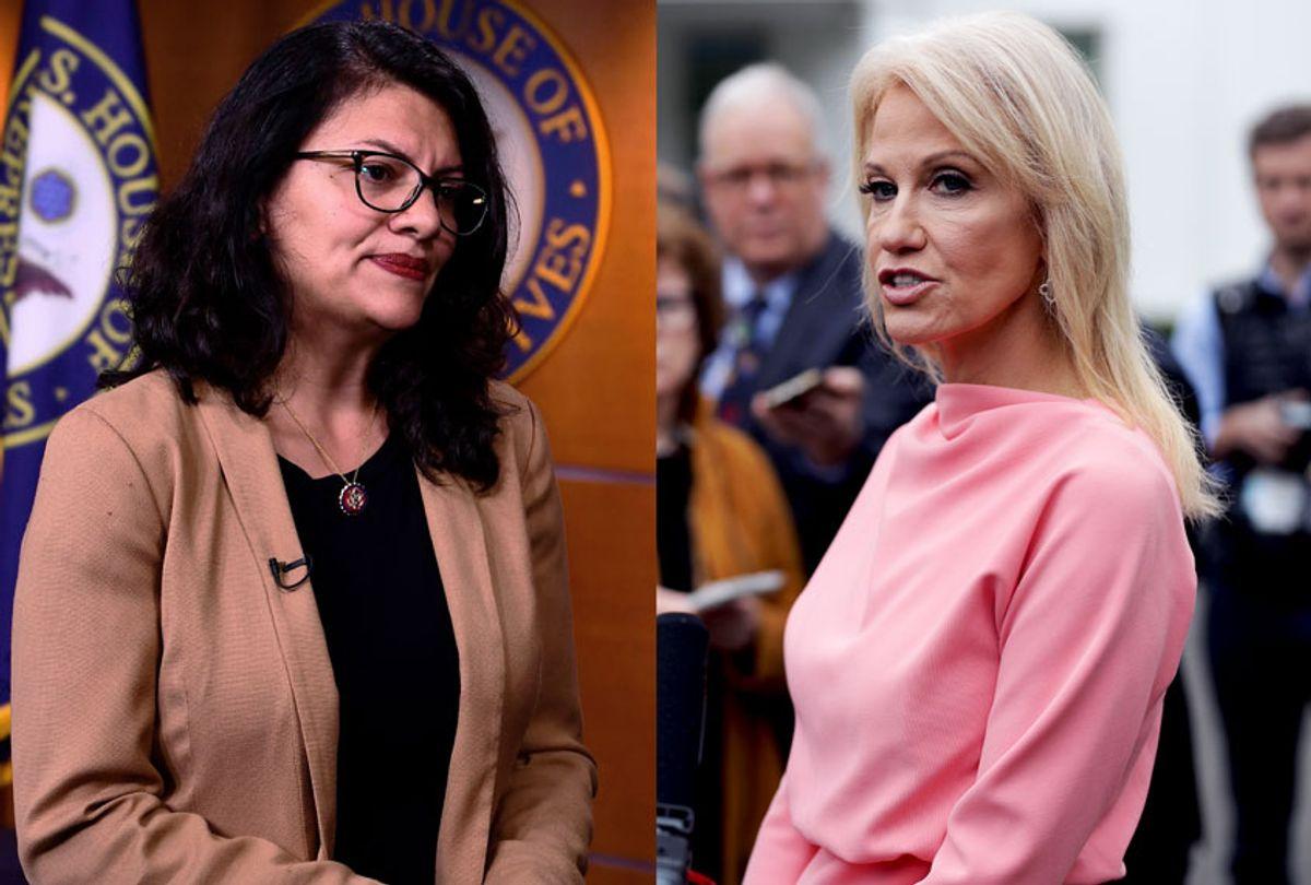 White House senior counselor Kellyanne Conway and US Representative Rashida Tlaib (Brendan Smialowski/Alex Wong/Getty Images)
