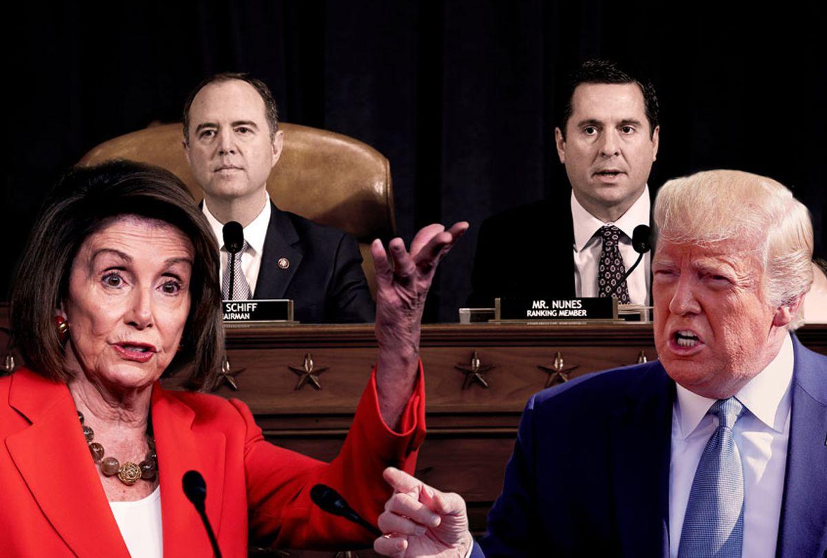 Nancy Pelosi, Donald Trump, Adam Schiff and Devin Nunes (AP Photo/Getty Images/Salon)