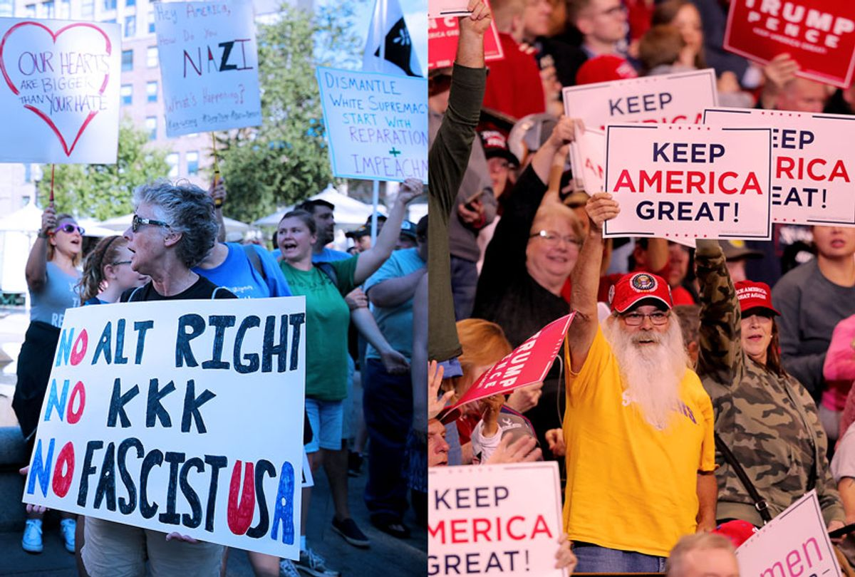 Peaceful anti-fascist protesters in Charlottesville, VA., and Trump supporters holding up signs at a campaign rally in Bossier City, La. (Getty Images/AP Photo/Salon)