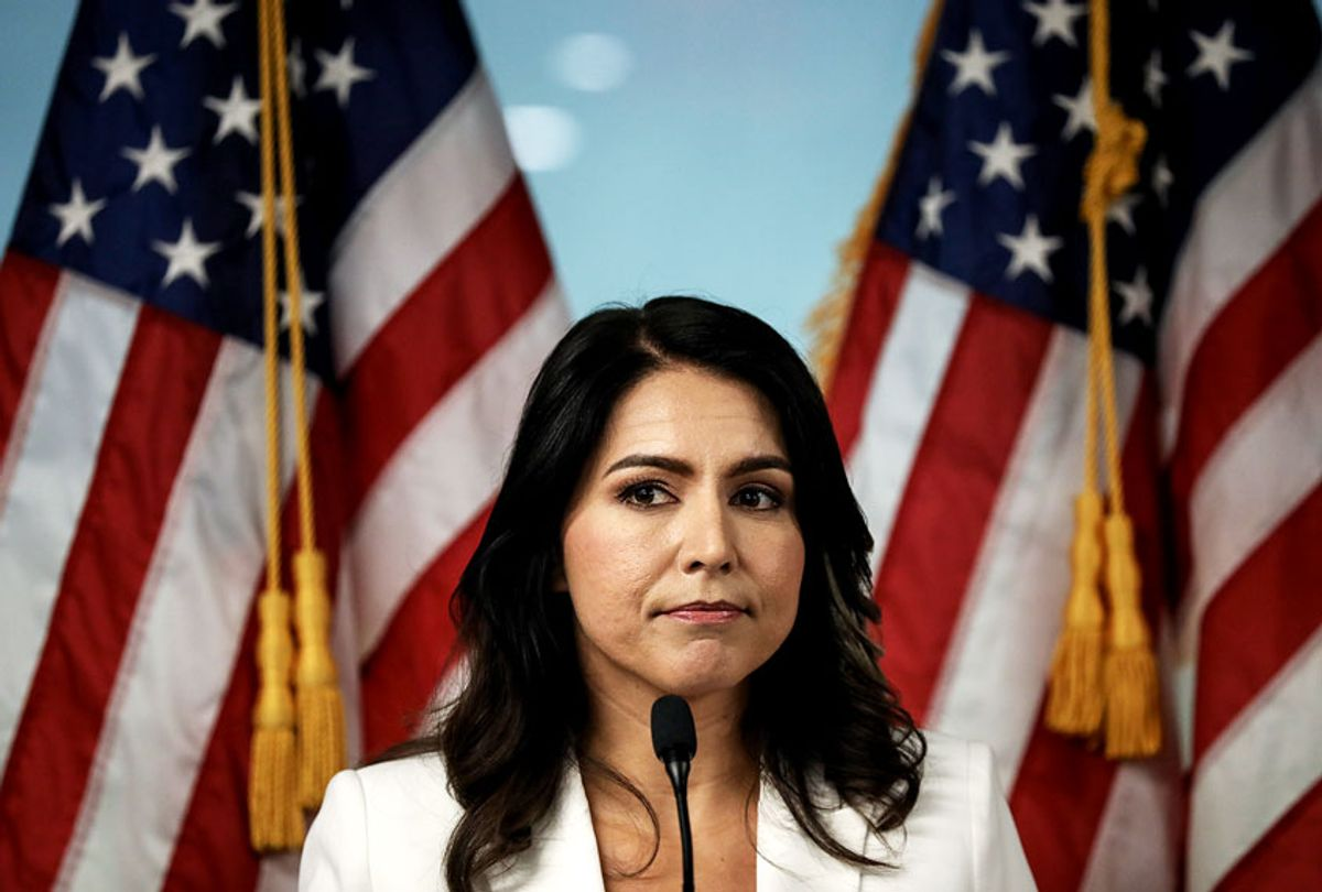 Democratic presidential candidate Rep. Tulsi Gabbard (D-HI) speaks during a press conference at the 9/11 Tribute Museum in Lower Manhattan on October 29, 2019 in New York City. Gabbard called for the U.S. Department of Justice and the FBI declassify and release 9/11 investigative documents that she claims would implicate the Kingdom of Saudi Arabia in the 2001 terrorist attacks. (Drew Angerer/Getty Images)