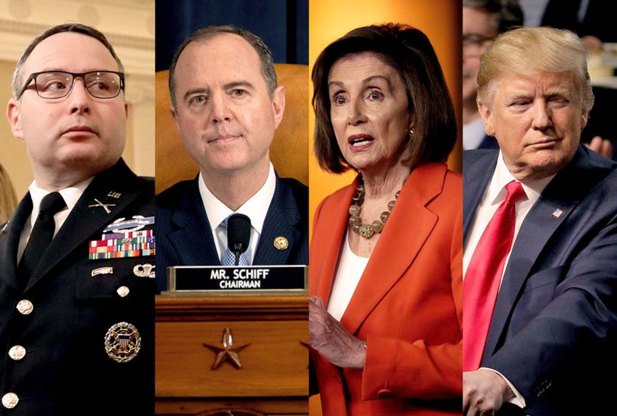Alexander Vindman, Adam Schiff, Nancy Pelosi and Donald Trump (Getty Images/AP Photo/Salon)
