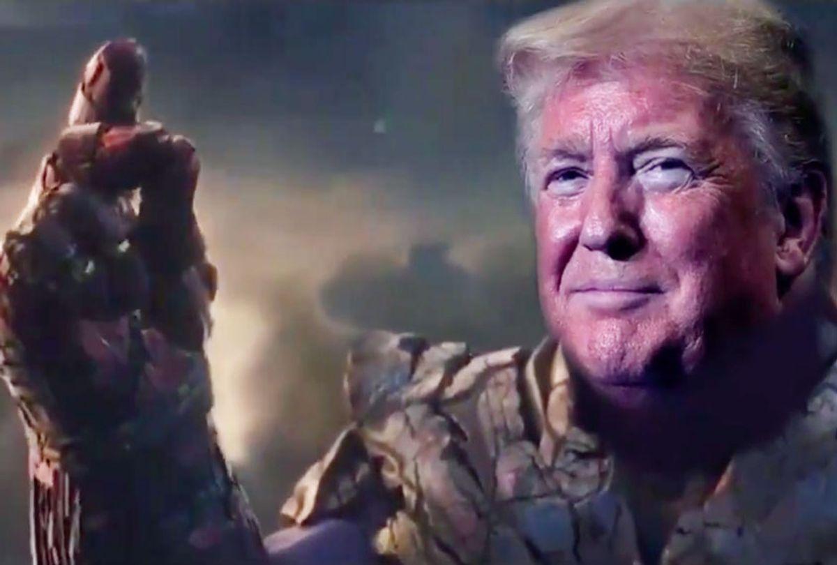 The tweet from Donald Trump's campaign put his head on Thanos's body (MARVEL/Twitter/@TrumpWarRoom)