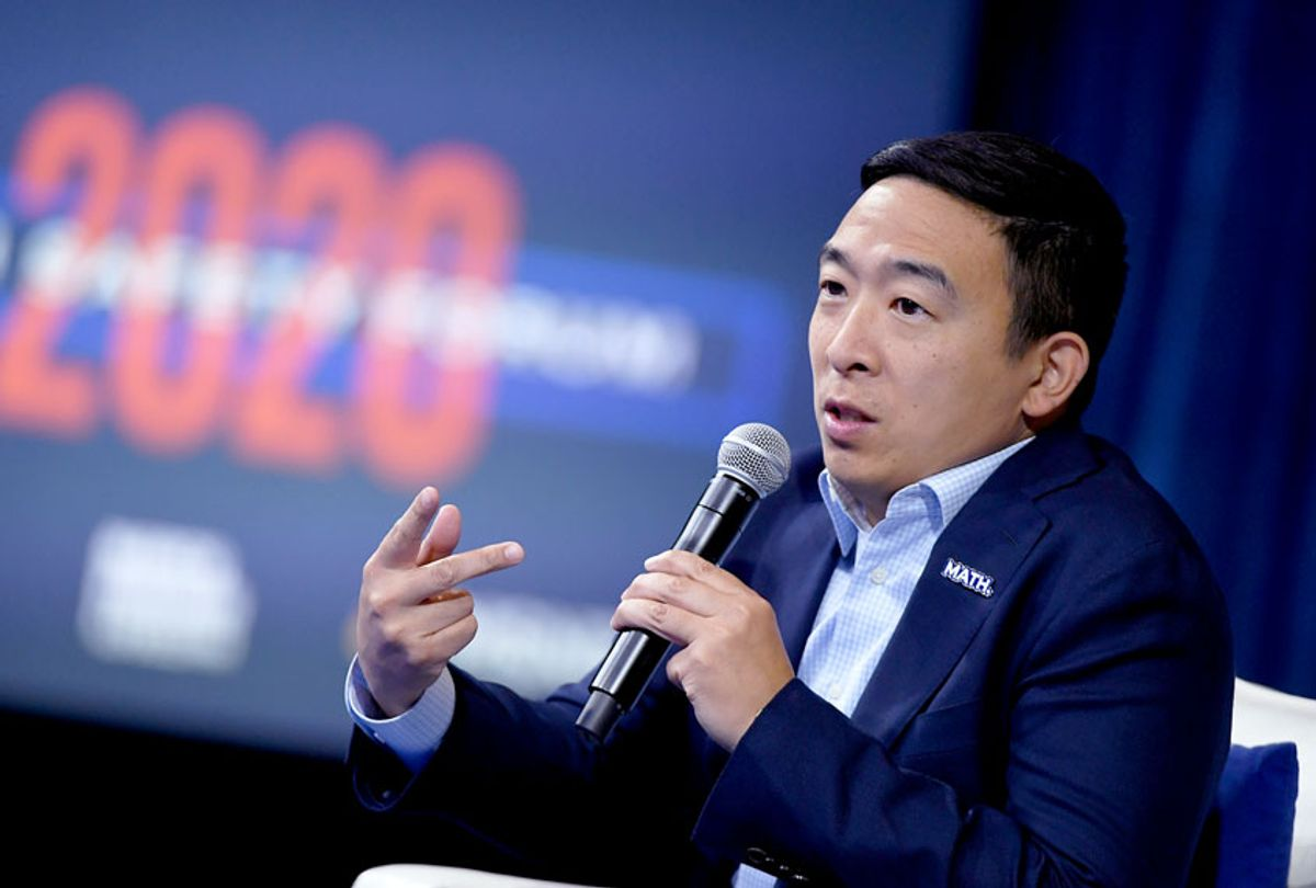 Democratic presidential candidate Andrew Yang  (Ethan Miller/Getty Images))