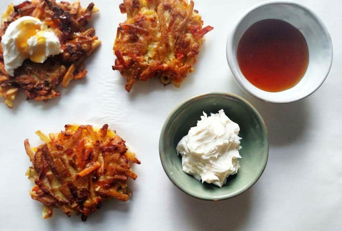 Apple-sweet potato latkes with hot honey mascarpone (Ashlie Stevens)
