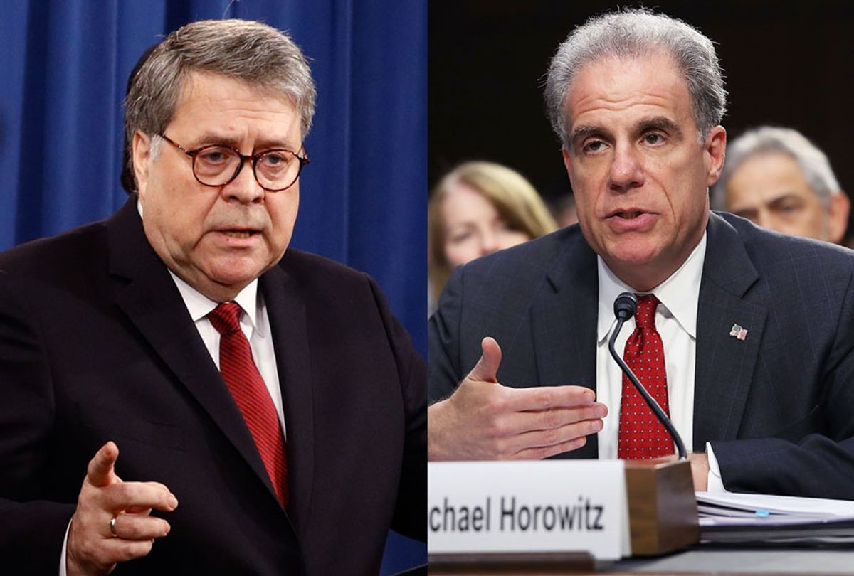 Justice Department Inspector General Michael Horowitz and Attorney General William Barr (Win McNamee/Getty Images/AP Photo/Patrick Semansky)