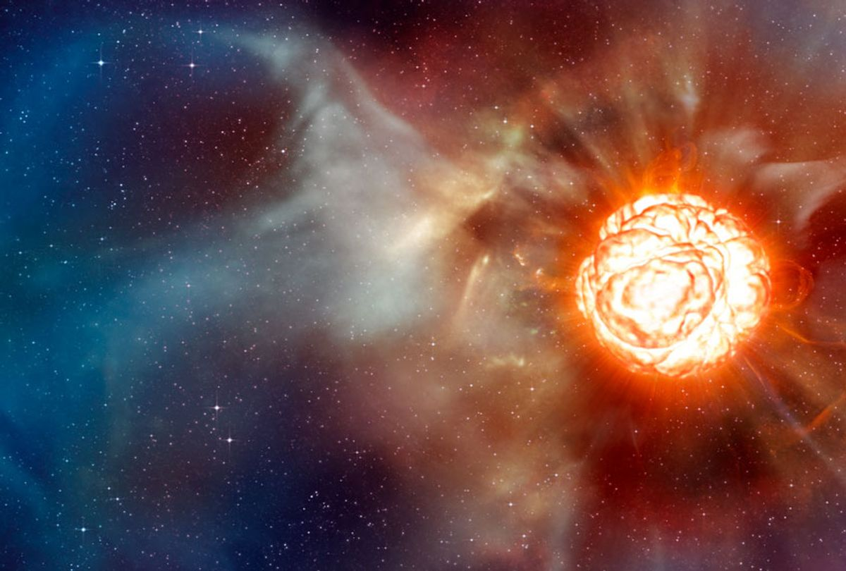 This artist's impression shows the supergiant star Betelgeuse as it was revealed thanks to different state-of-the-art techniques on ESO's Very Large Telescope (VLT), which allowed two independent teams of astronomers to obtain the sharpest ever views of the supergiant star Betelgeuse. They show that the star has a vast plume of gas almost as large as our Solar System and a gigantic bubble boiling on its surface. These discoveries provide important clues to help explain how these mammoths shed material at such a tremendous rate. (ESO/L. Calçada)
