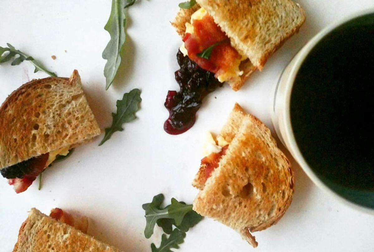Breakfast sandwich with blackberry-red onion jam (Ashlie Stevens)