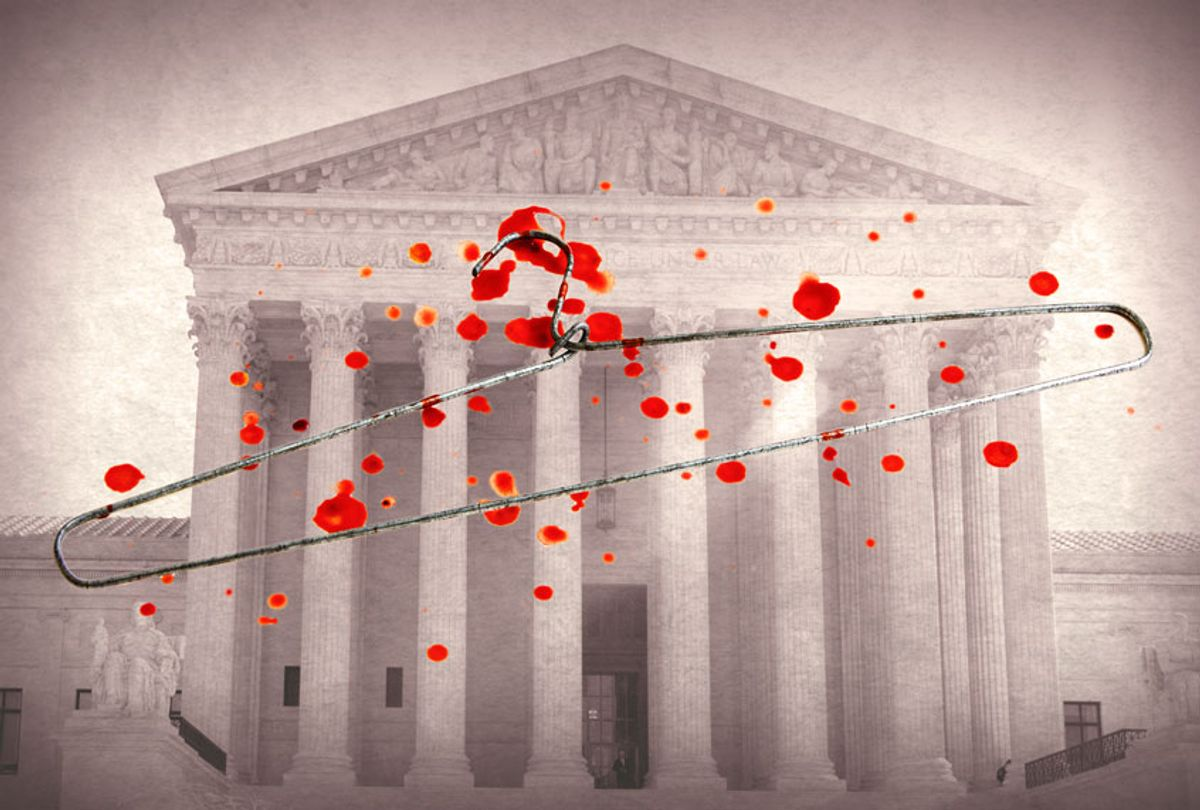 Bloody coat hanger overlaid on the Supreme Court building (Bill Clark/CQ-Roll Call, Inc via Getty Images/Salon)