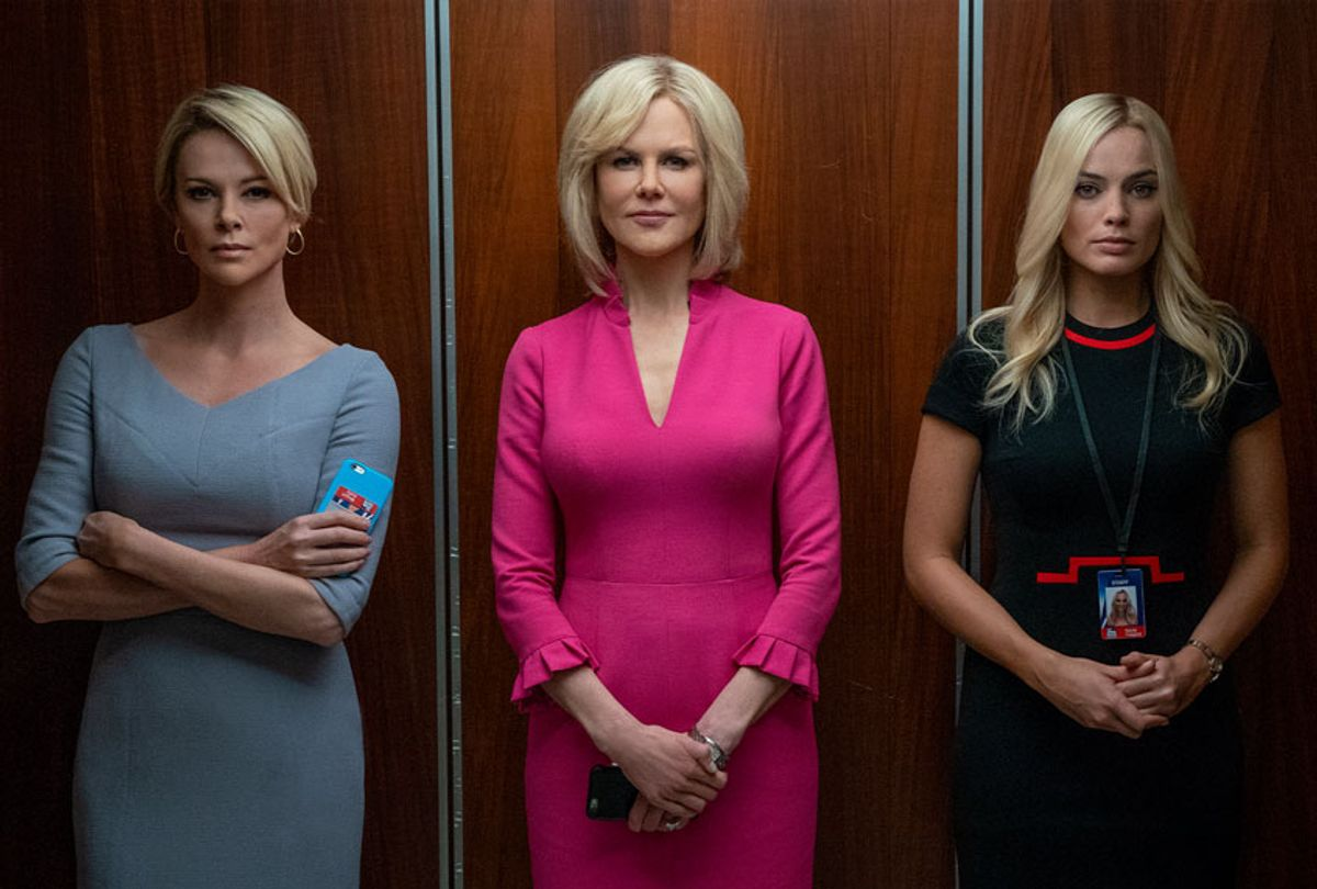 Charlize Theron as 'Megyn Kelly,' Nicole Kidman as 'Grechen Carlson,' and Margot Robbie as 'Kayla Pospisil' in BOMBSHELL. (Hilary Bronwyn Gayle SMPSP)