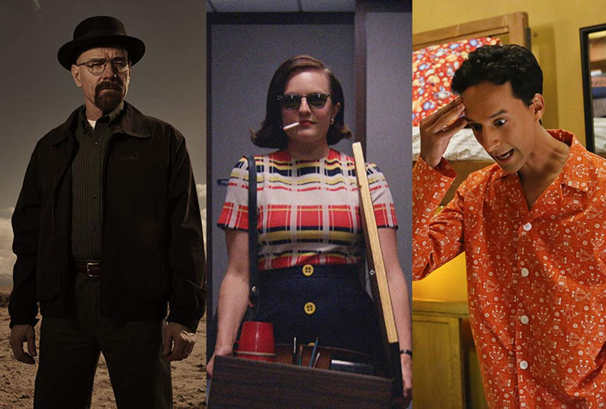 Bryan Cranston in Breaking Bad, Elisabeth Moss in Mad Men, and Danny Pudi in Community (AMC/NBC)
