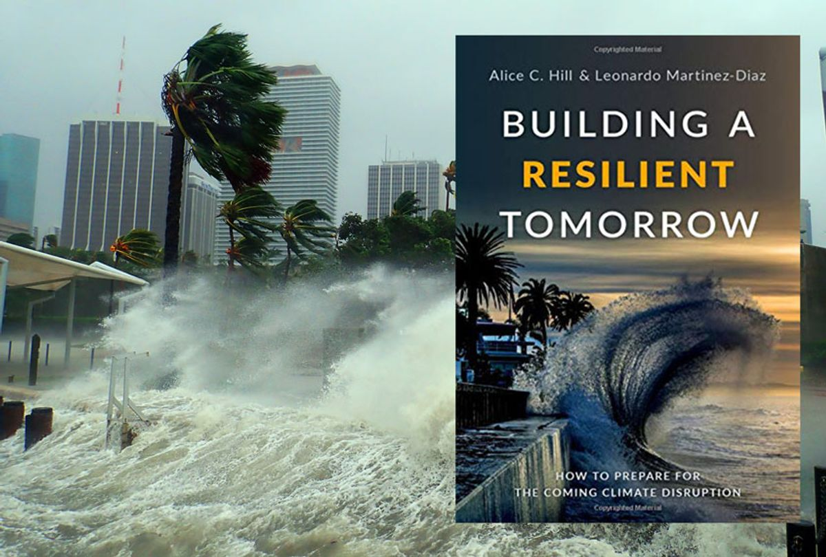 """Hurricane Irma seen striking Miami, Florida with 100+ mph winds and destructive storm surge, and """"Building A Resilient Tomorrow"""" by Alice C. Hill & Leonardo Martinez-Diaz  (Oxford University Press)"""