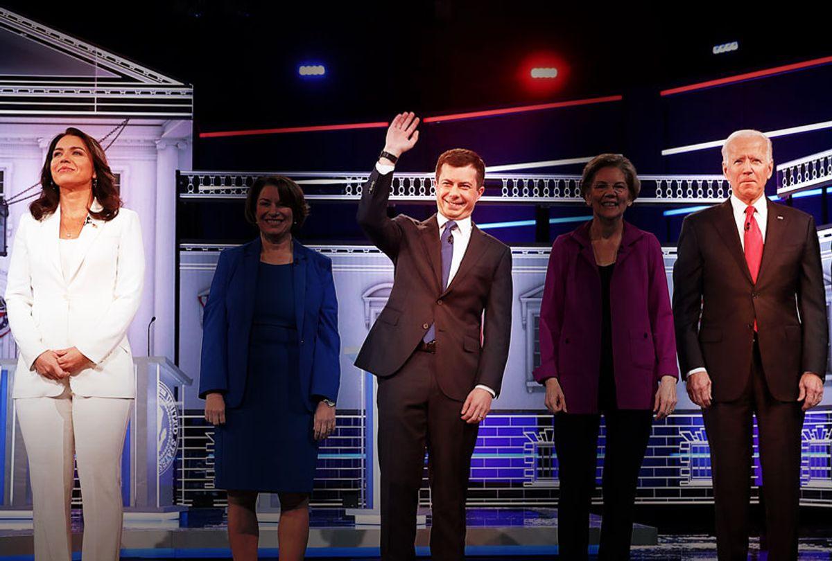 Democratic presidential candidates, Tulsi Gabbard, Pete Buttigieg and Joe Biden (Joe Raedle/Getty Images/Salon)