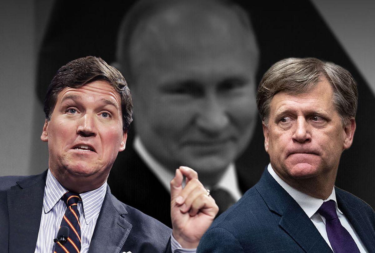 Tucker Carlson, Michael McFaul and Vladimir Putin (Getty Images/Salon)