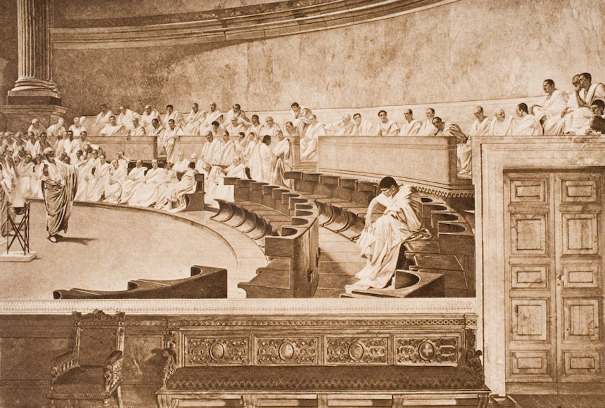 Cicero and Catiline in the Roman Senate, from the book The Outline of History by H.G.Wells Volume 1, published 1920.  (Universal History Archive/Getty Images)