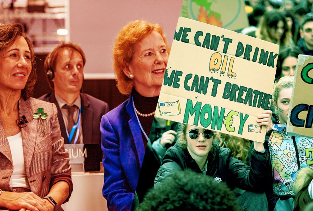 Split of participants at the Climate Summit in Madrid, and protestors from the Global Climate Strike (Getty Images/Salon)