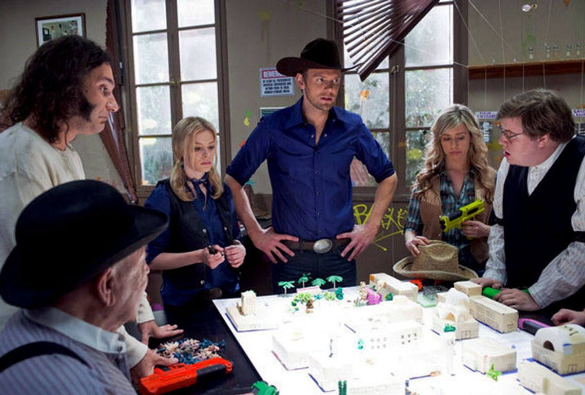 Joel McHale, Dino Stamatopoulos, Gillian Jacobs, Marcy McCusker, and Erik Charles Nielsen in Community (Lewis Jacobs/NBCUniversal)