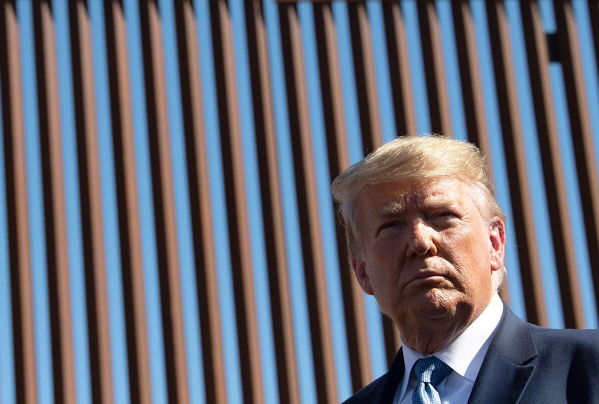 US President Donald Trump visits the US-Mexico border fence in Otay Mesa, California on September 18, 2019. (NICHOLAS KAMM/AFP via Getty Images)
