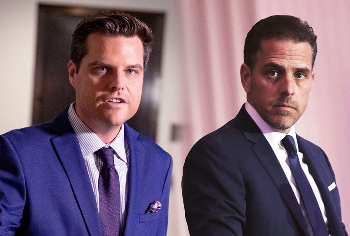 Matt Gaetz and Hunter Biden (Samuel Corum/Teresa Kroeger/Getty Images)